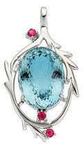 Estate Jewelry:Pendants and Lockets, Aquamarine, Ruby, White Gold Pendant. ...