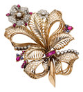 Estate Jewelry:Brooches - Pins, Retro Diamond, Ruby, Sapphire, Platinum-Topped Gold, Gold Brooch....