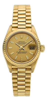 Rolex Lady's Gold Oyster Perpetual Datejust Watch, circa 1987
