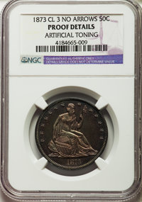 1873 50C Closed 3, No Arrows -- Artificial Toning -- NGC Details. Proof. NGC Census: (4/135). PCGS Population (3/174). M...