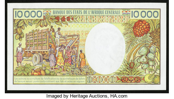 World Currency Central African Republic Republique Centrafricaine 10 000 Francs Nd 1983 Pick