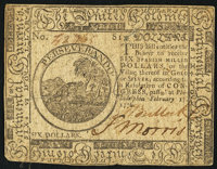Continental Currency February 17, 1776 $6 Very Fine-Extremely Fine