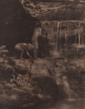 Photographs, Eva Watson-Schutze (American, 1867-1935). Outdoor Study of Two Children and Waterfall, circa 1904. Platinum. 8-1/8 x 6-1...
