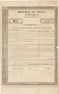 Miscellaneous:Broadside, [William Bryan]. Republic of Texas Land Scrip Unengrossed Form. ...