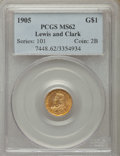 Commemorative Gold, 1905 G$1 Lewis and Clark Gold Dollar MS62 PCGS....
