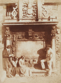 Hill & Adamson (Scottish, 1843-1848) Greyfriar's Churchyard, Dennistoun's Tomb with the Artist and Gravedigger&l...
