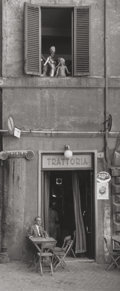 Photographs, Ruth Orkin (American, 1921-1985). Man and a Mannequin at Trattoria, Roma, 1951. Gelatin silver, printed later. 9-1/2 x 4...