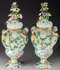 A Pair of Continental Dresden-Style Schneeballen Painted Porcelain Urns with Bird Motif, late 19th century Marks: