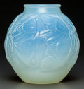 Art Glass:Other , A Sabino Cased Opalescent Glass Poissons Vase, Paris,France, circa 1935. Marks: Sabino, Paris. 10-1/2 inche...