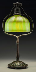 Art Glass:Tiffany , A Tiffany Studios Bronze Desk Lamp with Feather-Pulled FavrileGlass Shade, Corona, New York, circa 1910. Marks to base: T...(Total: 2 Items)