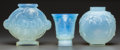 Art Glass:Other , Three Sabino Opalescent Glass Vases, Paris, France, post 1935.Marks to all: Sabino, Paris. 8 inches high (20.3 cm) (lar...(Total: 3 Items)