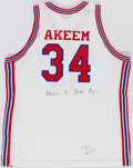 "Basketball Collectibles:Uniforms, Akeem ""The Dream"" Olajuwon Signed Houston Cougars Jersey...."