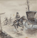 Mainstream Illustration, Stanley Massey Arthurs (American, 1877-1950). Horse Rider,probable interior illustration, 1897. Inkwash and gouache on...
