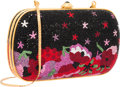 """Luxury Accessories:Bags, Judith Leiber Full Bead Black & Red Crystal Floral MinaudiereEvening Bag. Excellent Condition. 6.25"""" Width x 4""""Heigh..."""
