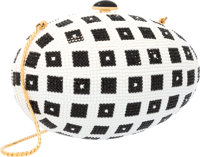 """Judith Leiber Full Bead Black & White Crystal Egg Minaudiere Evening Bag Excellent Condition 6"""" W"""