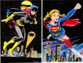 Original Comic Art:Splash Pages, Anthony Cacioppo - Supergirl and Batgirl Pin-Up Original Art Group(undated).... (Total: 2 Original Art)
