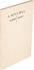 "Books:Literature 1900-up, Robert Frost. A Boy's Will. London: David Nutt, 1913. Firstedition, second issue, binding ""D."" Small octavo. 50 pag..."