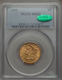 1899 $5 MS63 PCGS. CAC. PCGS Population (1609/840). NGC Census: (3564/2803). Mintage: 1,710,729. Numismedia Wsl. Price f...