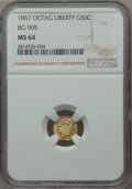 California Fractional Gold , 1867 50C Liberty Octagonal 50 Cents, BG-905, Low R.5, MS64 NGC. NGCCensus: (4/7). PCGS Population (14/13). ...