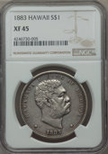 Coins of Hawaii , 1883 $1 Hawaii Dollar XF45 NGC. NGC Census: (74/219). PCGSPopulation (187/277). Mintage: 46,348. ...
