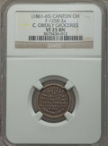 Civil War Merchants, Undated C. Oberly, Groceries, Canton, OH, VF25 NGC, Fuld-125B-2a;1864 C.W. Ellis, Cincinnati, OH -- Tooled, Corroded -- NGC D...(Total: 6 tokens)