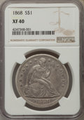 Seated Dollars: , 1868 $1 XF40 NGC. NGC Census: (4/86). PCGS Population (20/128). Mintage: 162,100. Numismedia Wsl. Price for problem free NG...