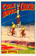 """Movie Posters:Miscellaneous, Cole Bros. Circus Poster (Cole Brothers, 1937). Poster (27"""" X 41"""").. ..."""