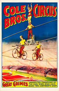 """Cole Bros. Circus Poster (Cole Brothers, 1937). Poster (27"""" X 41"""")"""