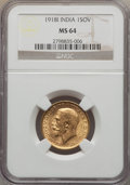 India:British India, India: British India. George V gold Sovereign 1918 MS64 NGC,...