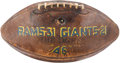Football Collectibles:Balls, 1946 Los Angeles Rams Game Used Football Presented to Bob Shaw After Victory Vs. Giants....
