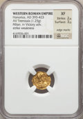 Ancients:Roman Imperial, Ancients: Honorius (AD 393-423). AV tremissis (1.25 gm)....