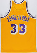 Basketball Collectibles:Uniforms, Kareem Abdul Jabbar Signed Los Angeles Lakers Jersey....