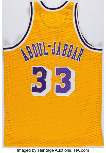 c1dc08ba20c Basketball Collectibles:Uniforms, Kareem Abdul Jabbar Signed Los Angeles  Lakers Jersey.
