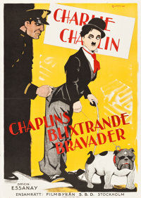 "Charlie Chaplin Compilation (Essanay, 1915-1916). Swedish One Sheet (27.5"" X 39.5"")"