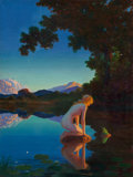 Fine Art - Painting, American:Modern  (1900 1949)  , Edward Eggleston (American, 1882-1941). Nyph and the Frog.Oil on canvas. 36 x 27-1/4 inches (91.4 x 69.2 cm). Signed lo...