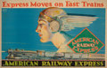 Prints, American School (20th Century). American Railway Express, 1927. Color poster laid on board. 56 x 36 inches (142.2 x 91.4...