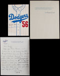 Baseball Collectibles:Others, Dodgers Greats Signed Memorabilia Lot of 3....