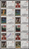 Baseball Collectibles:Others, Baseball Greats Signed First Day Covers Lot of 12....