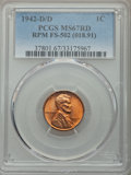 Lincoln Cents, 1942-D/D 1C FS-502 MS67 Red PCGS....