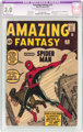 Amazing Fantasy #15 (Marvel, 1962) CGC Apparent GD/VG 3.0 Slight (A) Off-white to white pages. The origin and first appe...