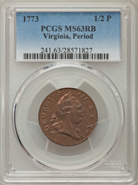 1773 1/2 P Virginia Halfpenny, Period MS63 Red and Brown PCGS. PCGS Population (93/117). NGC Census: (29/42). ...(PCGS#...