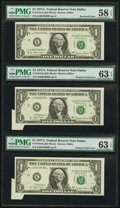 Error Notes:Foldovers, Fr. 1910-K $1 1977A Federal Reserve Notes. Three Examples. PMGGraded.. ...