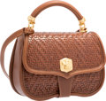 """Luxury Accessories:Bags, Kieselstein Cord Brown Woven Leather Top Handle Bag with Matte GoldCanine Hardware. Very Good Condition. 10"""" Width x ..."""
