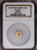 California Fractional Gold: , 1870 50C Goofy Head Round 50 Cents, BG-1047, High R.4, AU58 NGC.PCGS Population (9/32). (#10876)...
