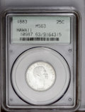 Coins of Hawaii: , 1883 25C Hawaii Quarter MS63 PCGS. PCGS Population (217/429). NGCCensus: (87/256). Mintage: 500,000. (#10987)...