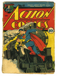 Action Comics #41 (DC, 1941) Condition: FR. Cover by Fred Ray. Art by Ray, George Papp, Sheldon Moldoff, Bernard Baily...