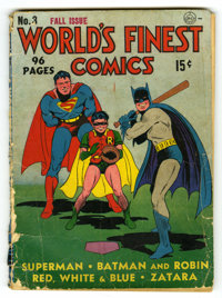 World's Finest Comics #3 (DC, 1941) Condition: PR. The Sandman begins. Last Johnny Thunder. Origin and first appearance...