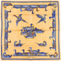 """Luxury Accessories:Accessories, Hermes 90cm Yellow & Blue """"La Mare aux Canards,"""" by Daphne Duchesne Silk Scarf. Very Good Condition. 36"""" Width x 36"""" L..."""
