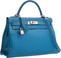 Luxury Accessories:Bags, Hermes Limited Edition 32cm Blue de Galice Grain d'H & SwiftLeather Ghillies Kelly Bag with Palladium Hardware. RSquare,...