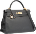 "Luxury Accessories:Bags, Hermes 32cm Black Evergrain Leather Retourne Kelly Bag with GoldHardware. E Square, 2001. Very Good Condition. 12.5"" Widt..."